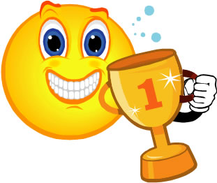 1st place trophy clipart smiley