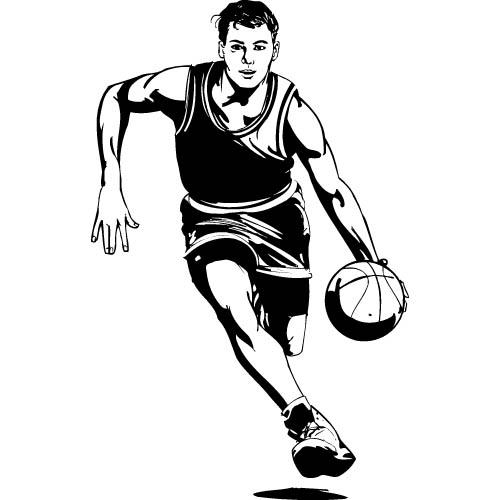 Basketball clipart man black white
