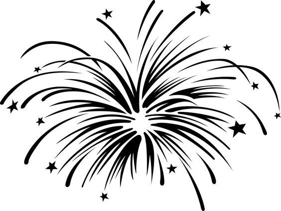 Black white fireworks clipart free