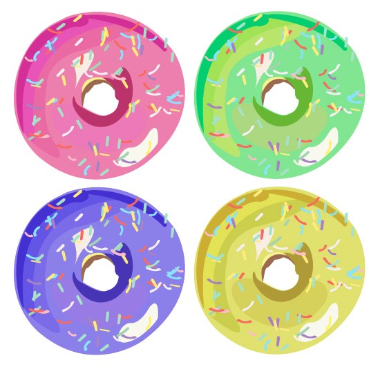 Four donut clipart free image