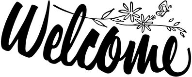 Welcome clipart graphic black white