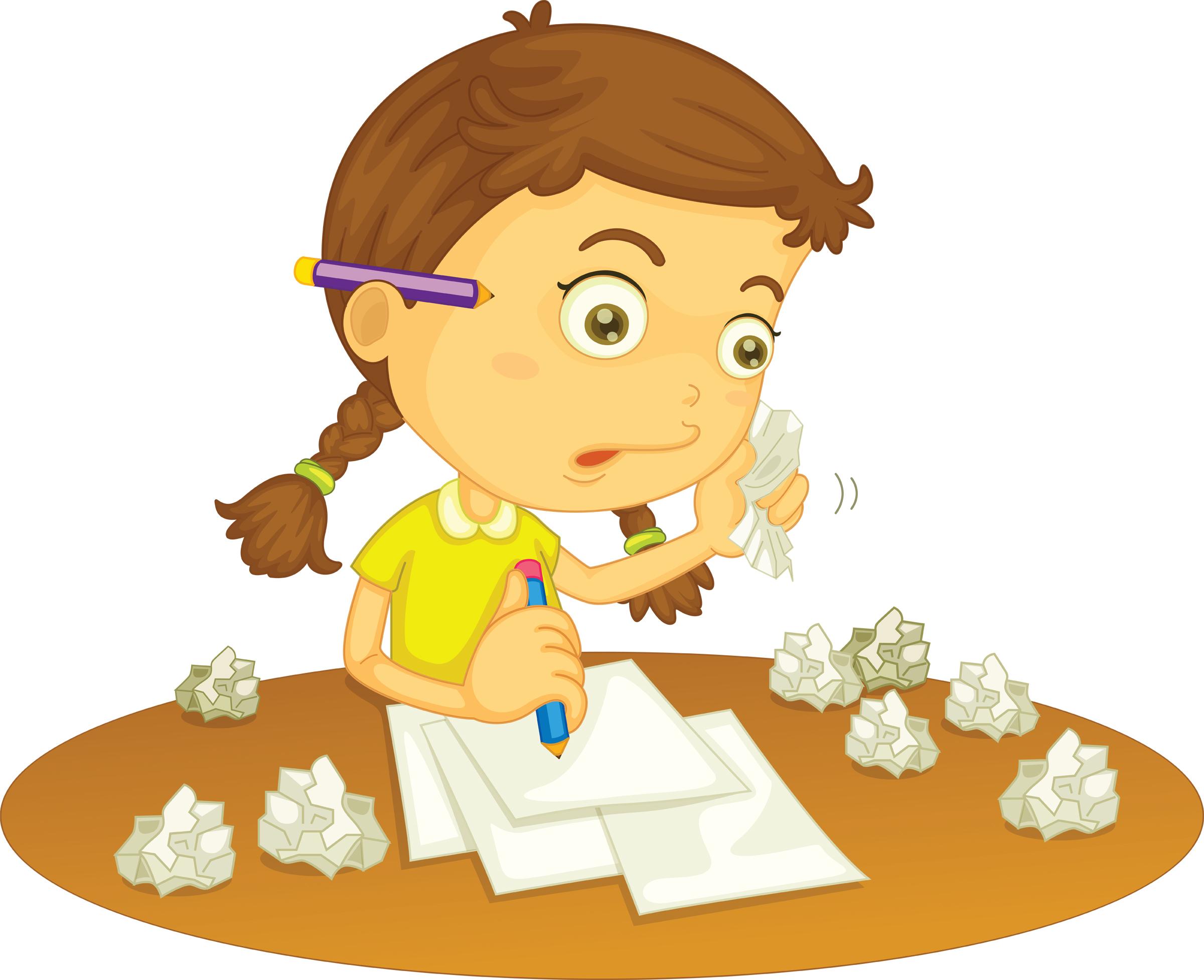 free homework girl clipart