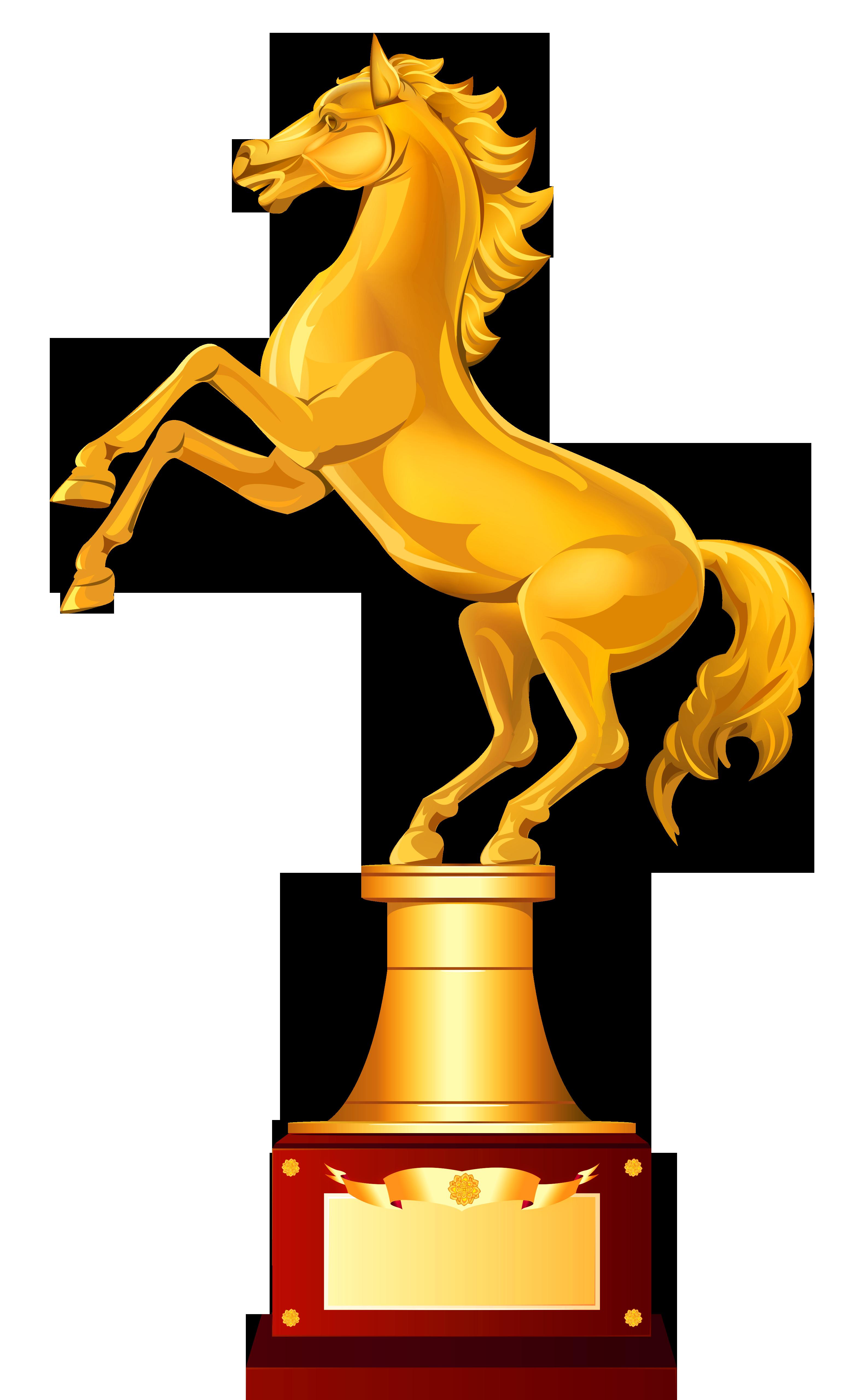 golden horse trophy clipart image
