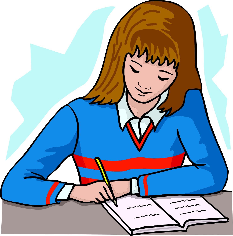 homework girl clipart