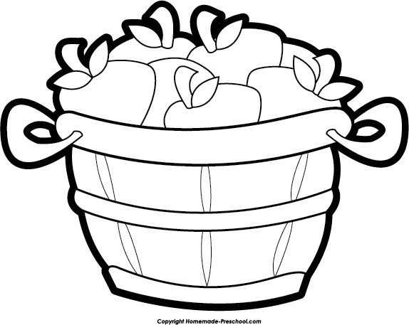 Apple  black and white apple basket black and white clipart 2