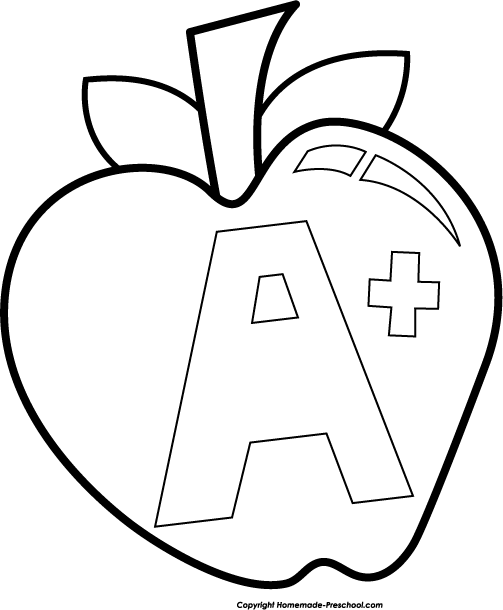Apple  black and white free school related clipart