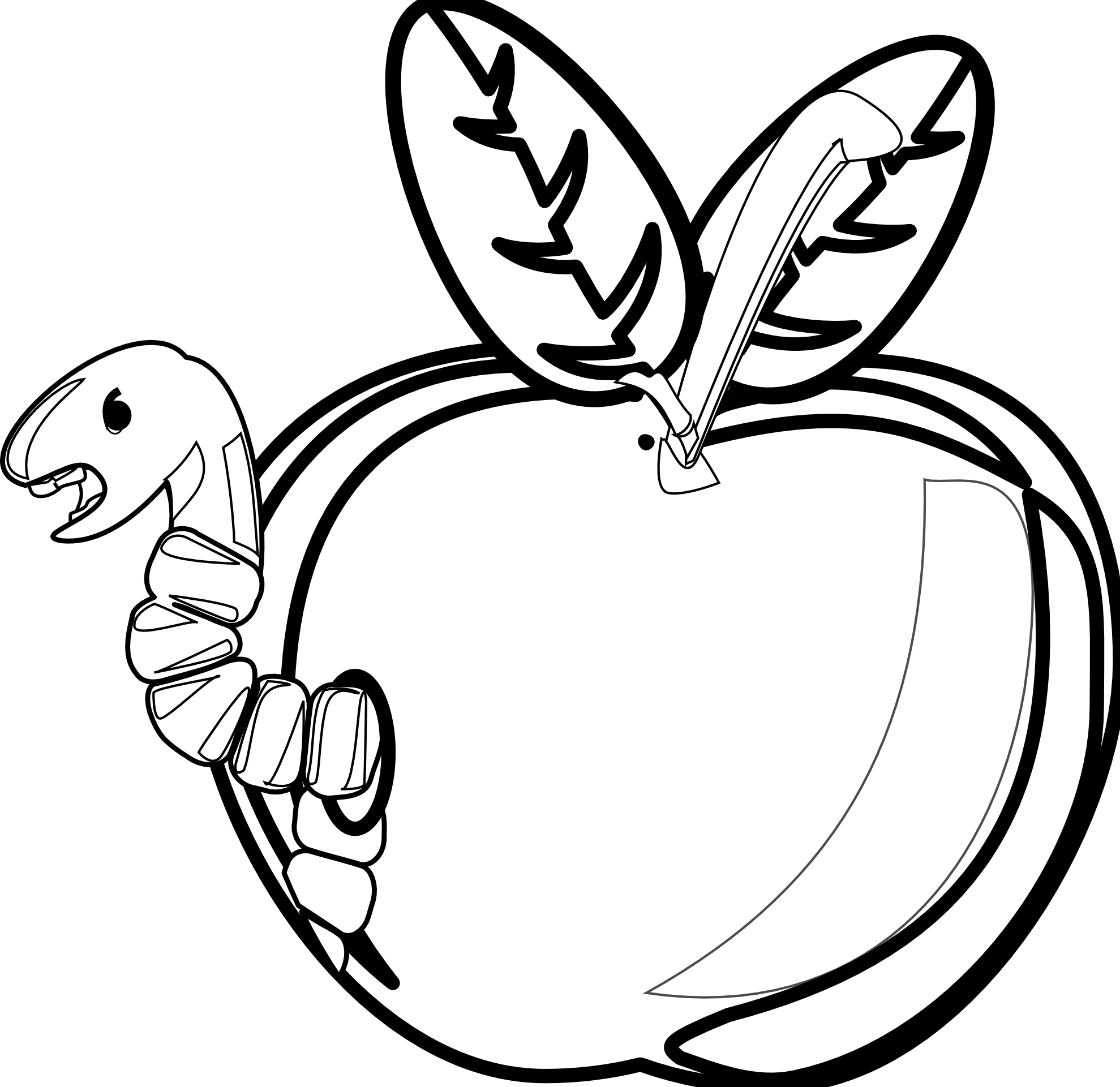 Apple  black and white rg 1 cartoon apple with worm black white line clipart