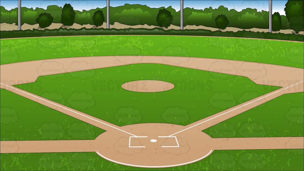 Baseball diamond background vector clip art cartoon
