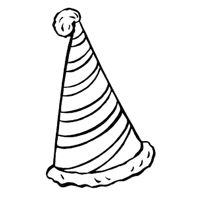 Birthday hat black and white clip art 3