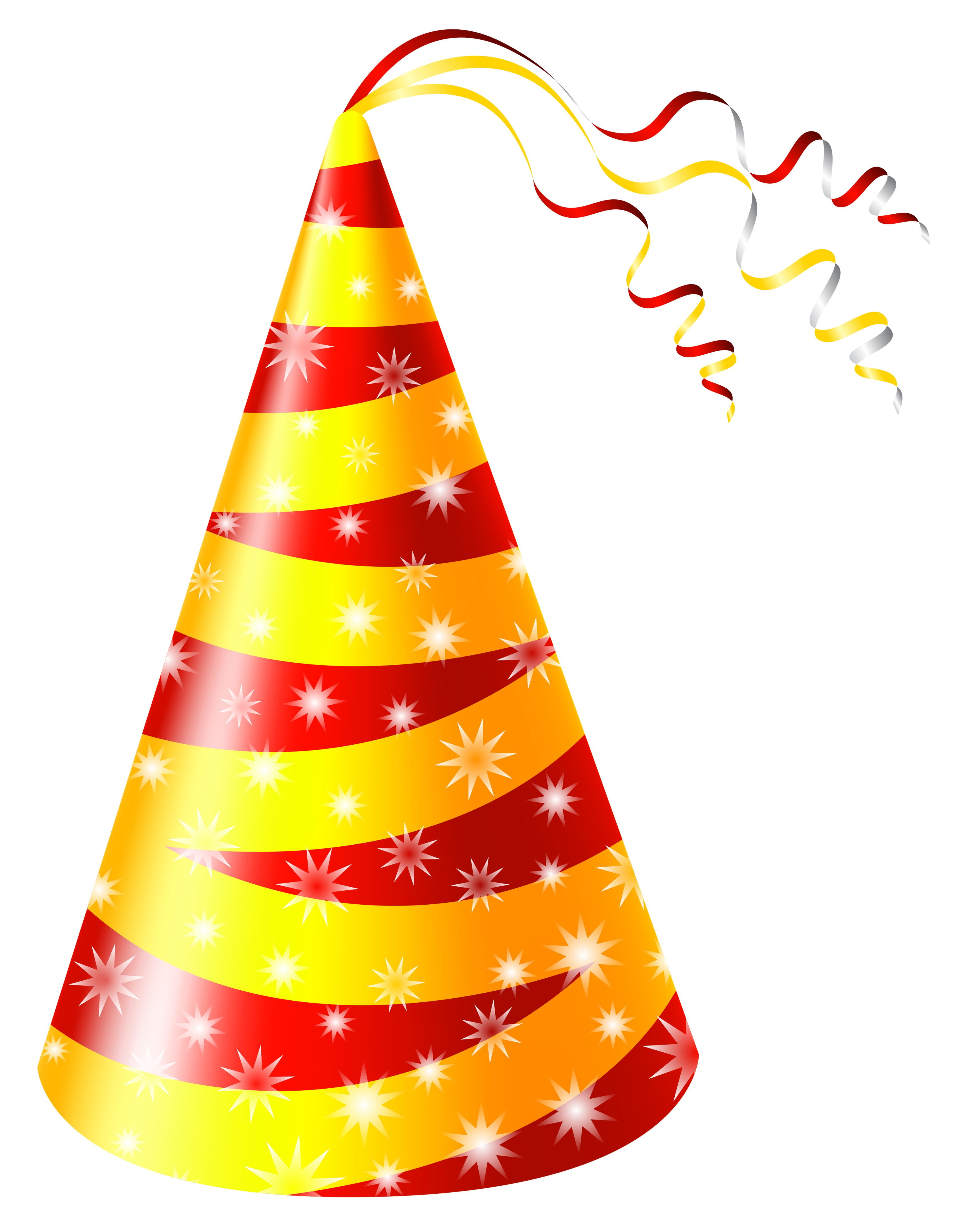 Birthday hat yellow and red party hat clipart image