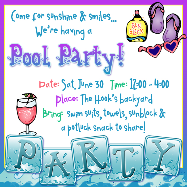 Birthday pool party clipart 3