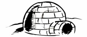 Black and white igloo clipart
