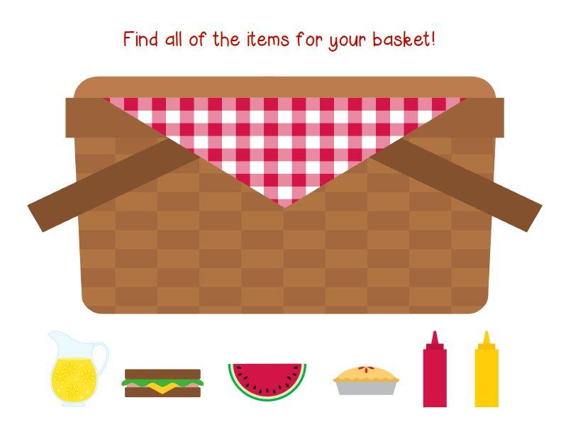 Blanket picnic basket clipart