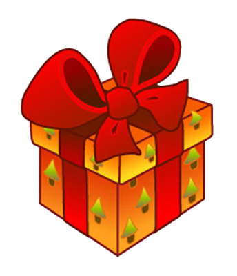 Christmas wrapped present clipart