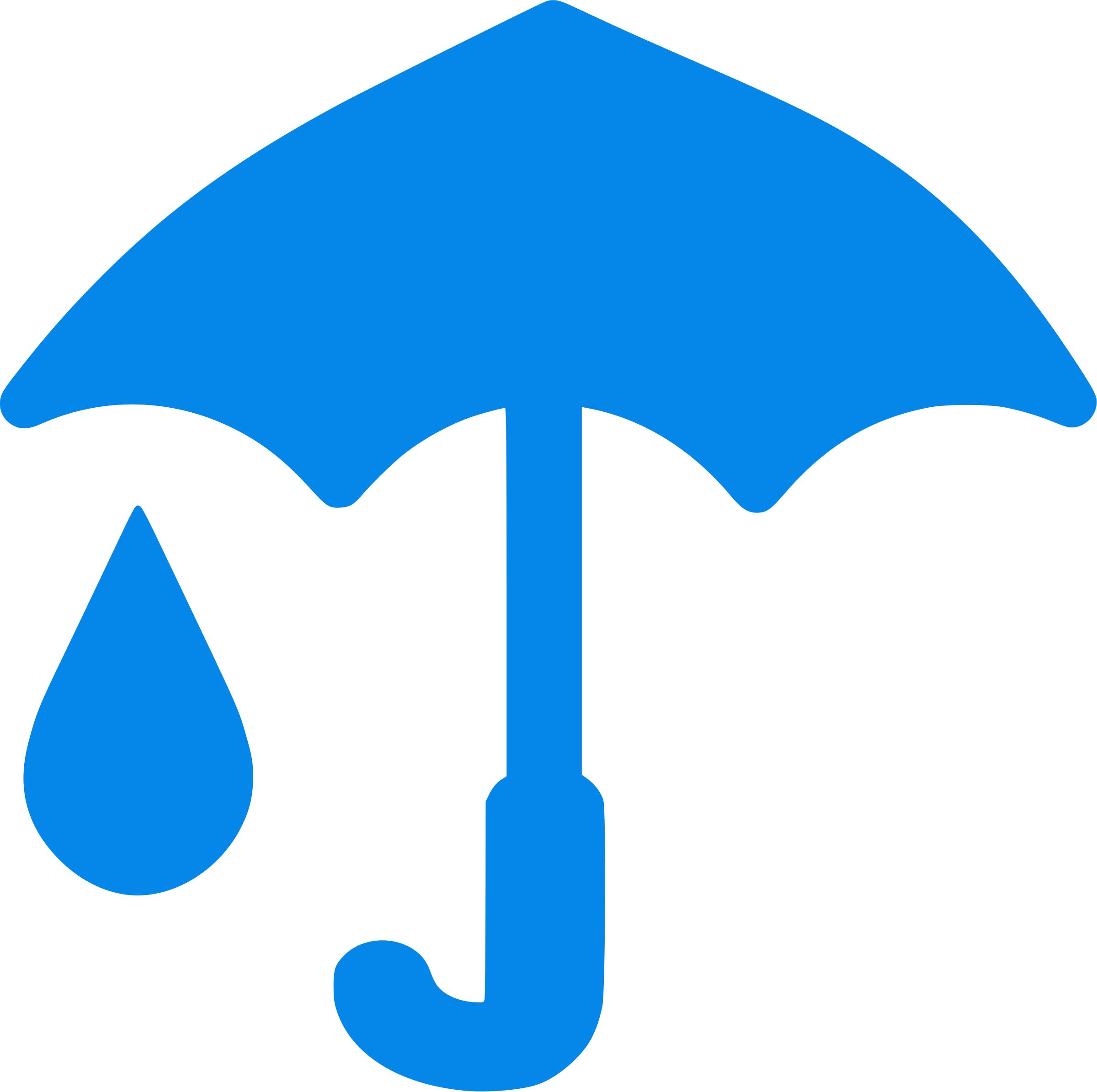 Clipart blue umbrella and raindrop icon