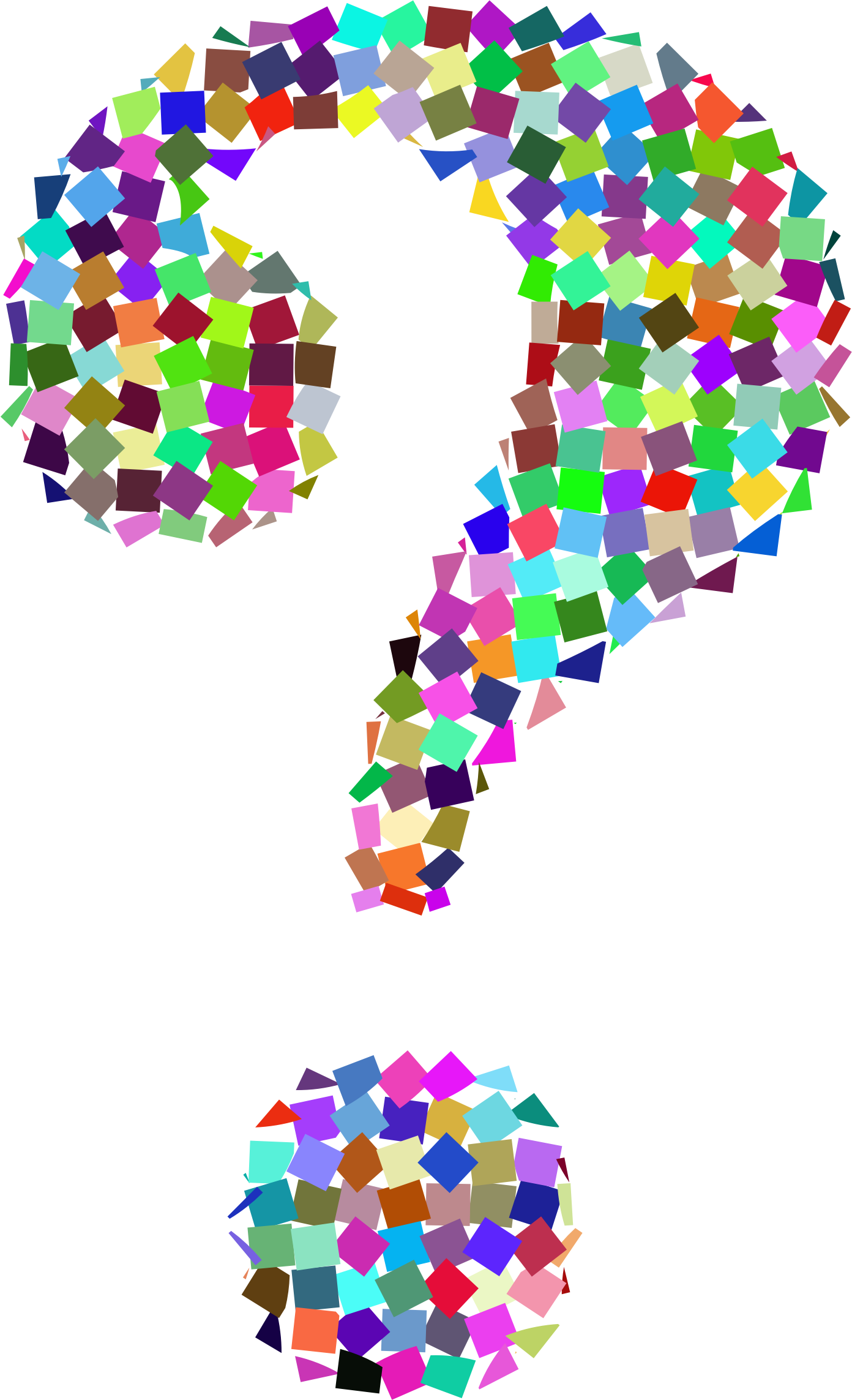 Clipart prismatic confetti question mark