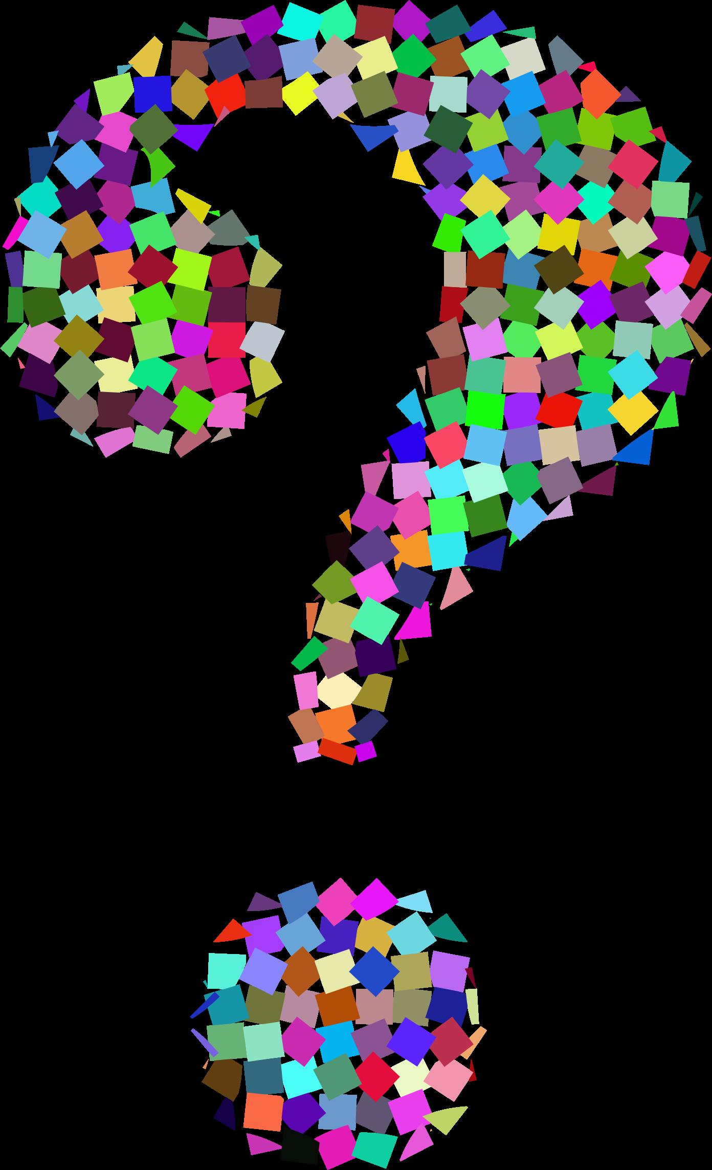 Clipart prismatic confetti question mark