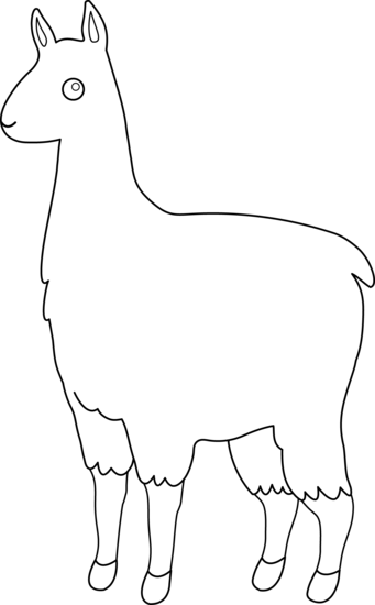 Cute llama line art free clip clipart 2