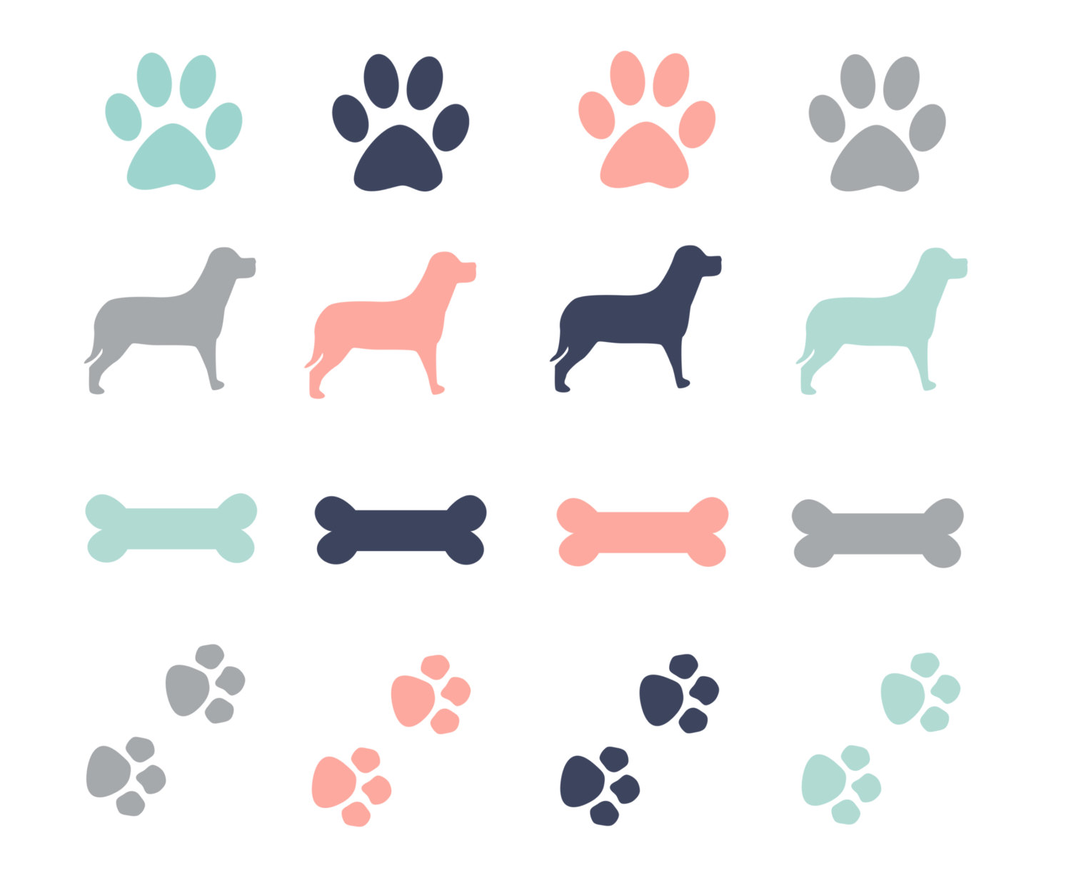 Dog bone print clipart