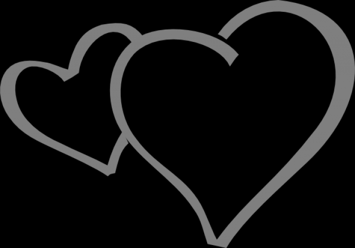Double heart clipart black and white valentine week 6