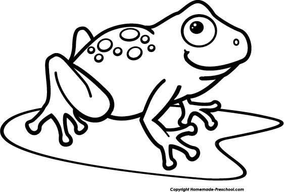 Frog  black and white frogs clip art waving frog vector