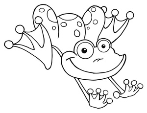 Frog  black and white jumping frog clipart image coloring page