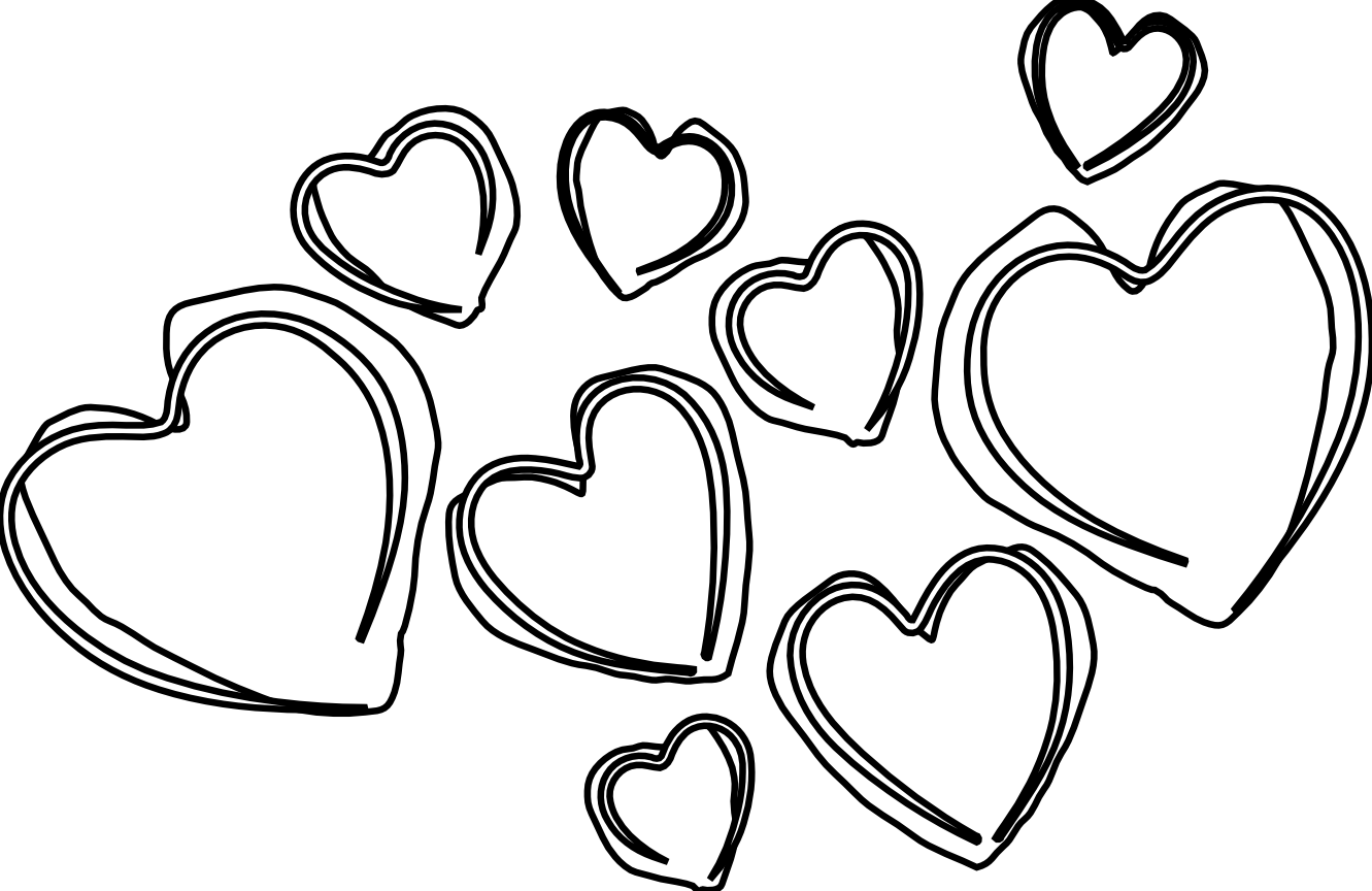 Heart clipart black and white 7