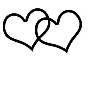 Heart clipart black and white double heart clipart