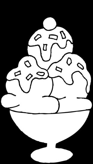 Ice cream sundae ice cream clipart black and white