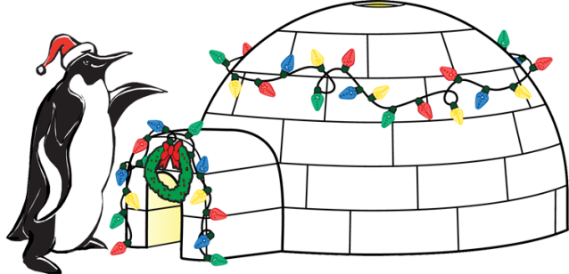 Igloo christmas animals clip art