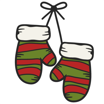 Large hanging mittens clip art