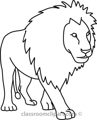 White Lion Outline : Black and white lion outline.