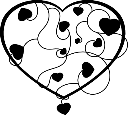 Love heart clipart black and white 3