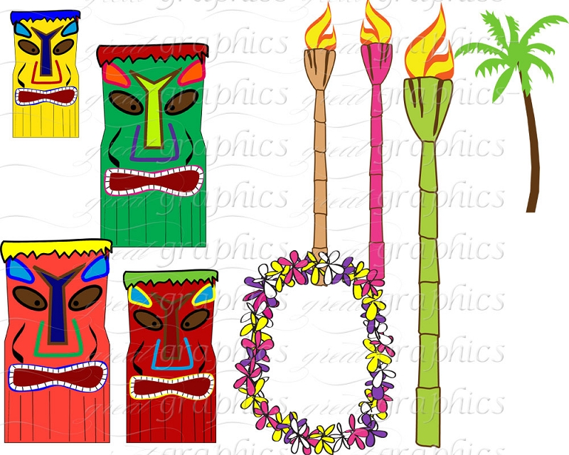 Luau background clipart