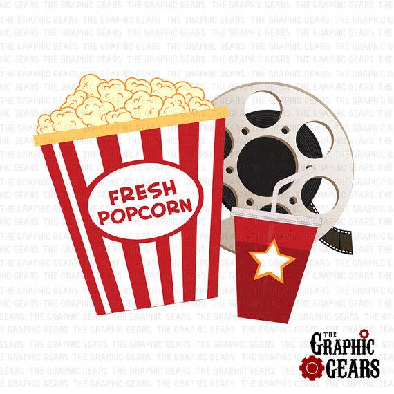 Movie night movie and popcorn clipart
