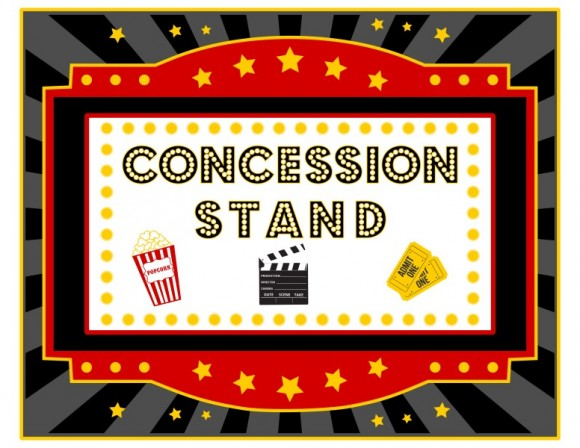 Movie night movie concessions clipart