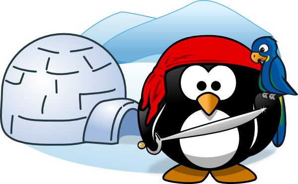 Penguin pirate with igloo clip art at vector clip art