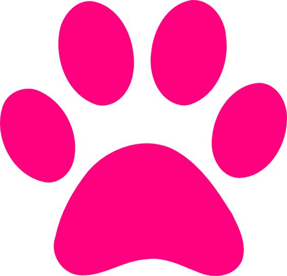 Pink print dog paw print transparent background clipart