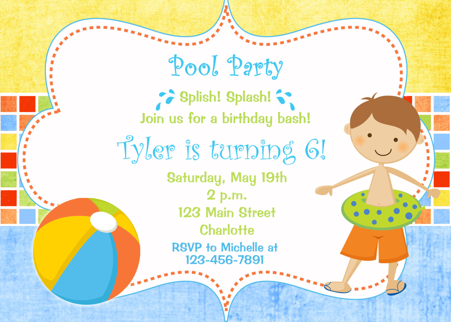 Pool party invitations clipart 3