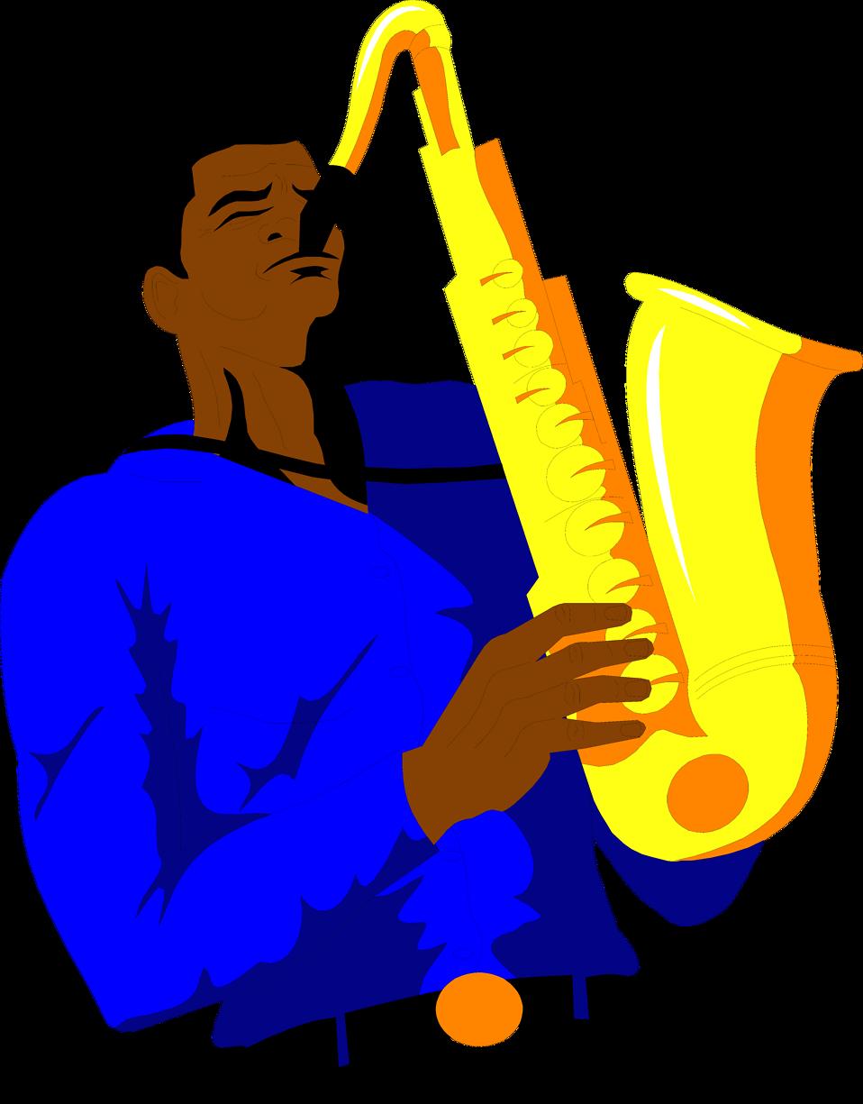 Saxophone free an african american clip art