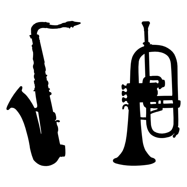 Silhouette saxophone clipart