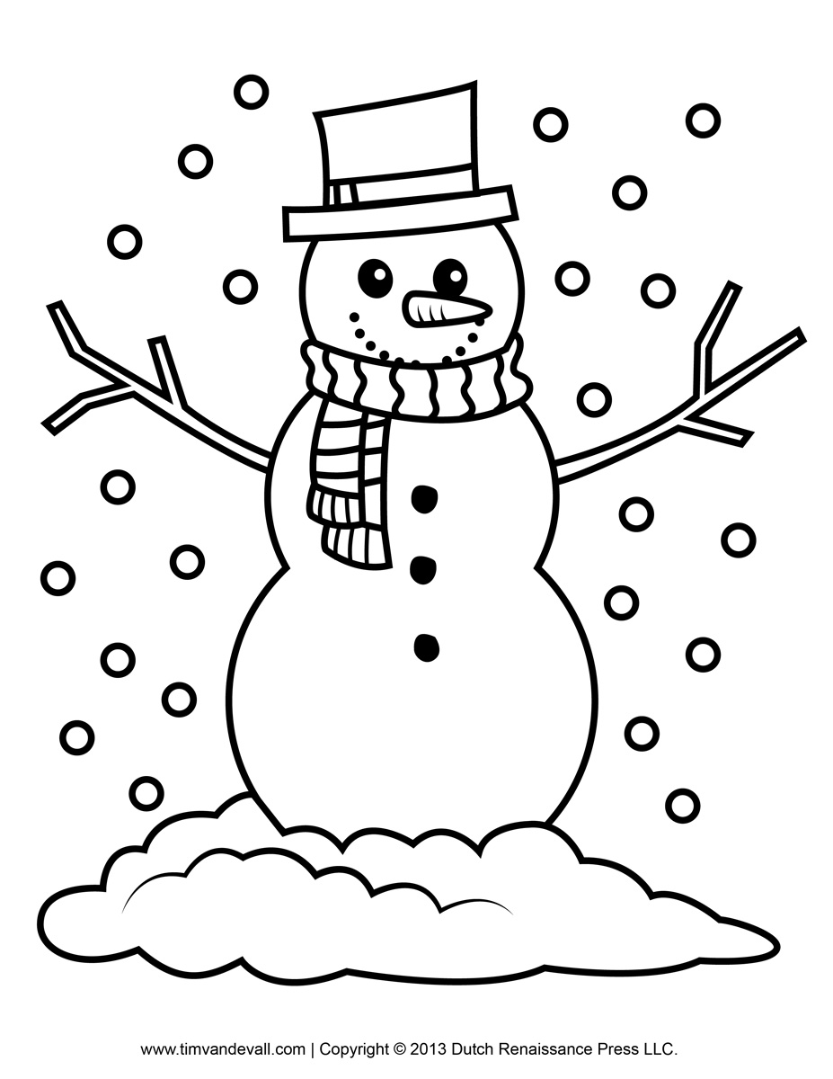 Snowman printable. Black and white clipart
