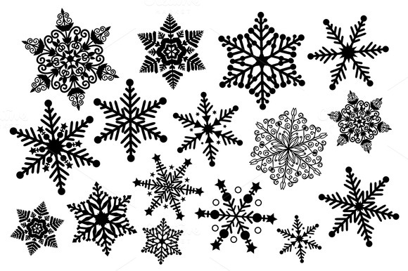 Snowman  black and white black and white snowflake clipart illustrations on creative market