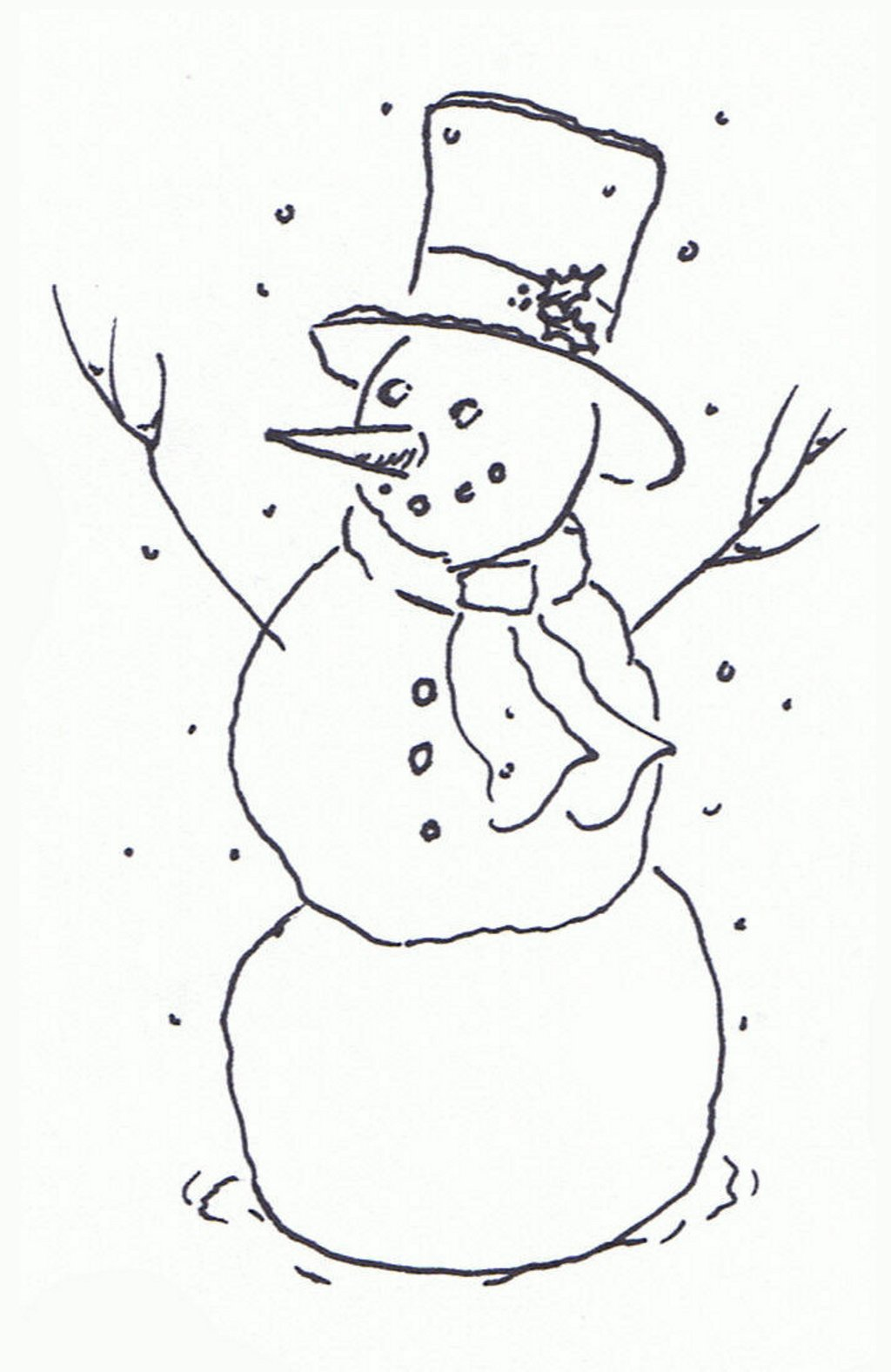 Snowman  black and white january black and white clipart