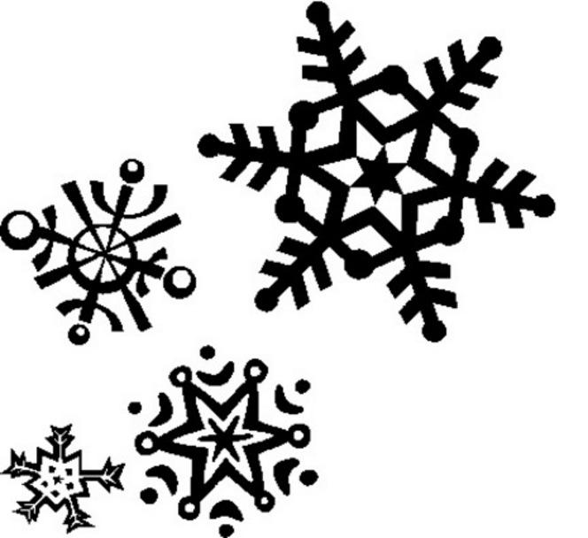 Snowman  black and white snowflake clipart