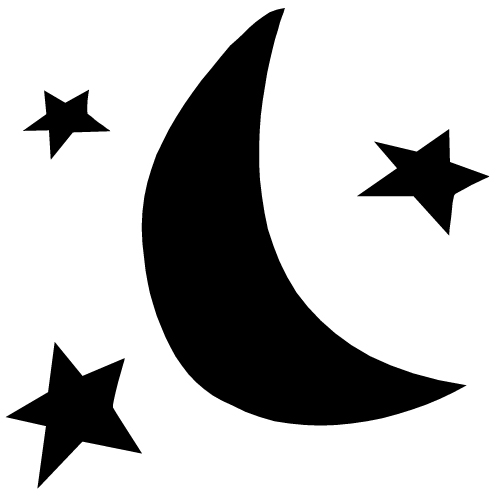 Star  black and white half moon black and white clipart