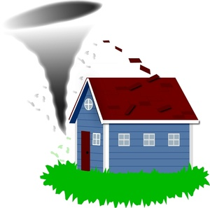 Tornado clipart image about to hit a home