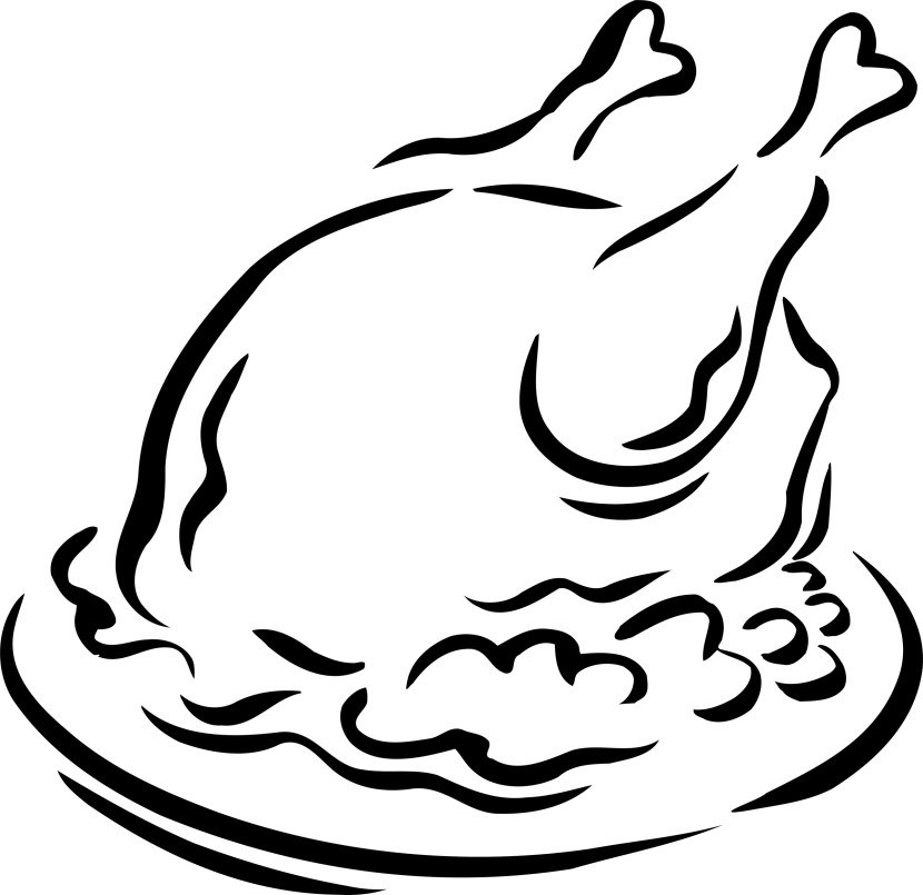 Turkey  black and white cooked turkey clipart 2