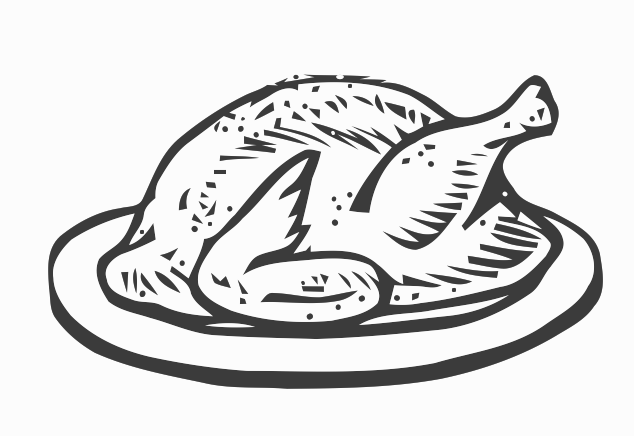 Turkey  black and white cooked turkey clipart