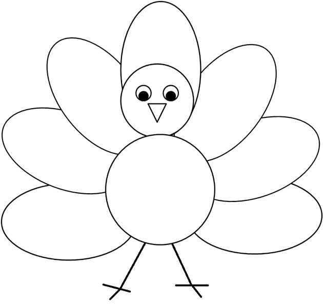 Turkey  black and white simple turkey clipart